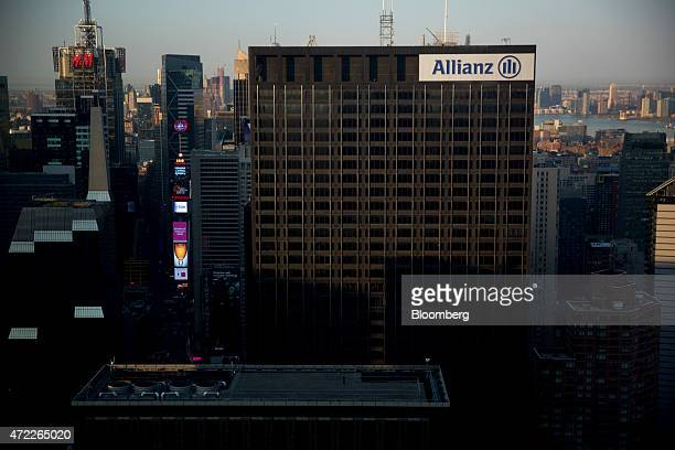 The Allianz SE logo is displayed on a building in New York US on Monday May 4 2015 Allianz SE Europe's largest insurer joined with Clal Insurance...
