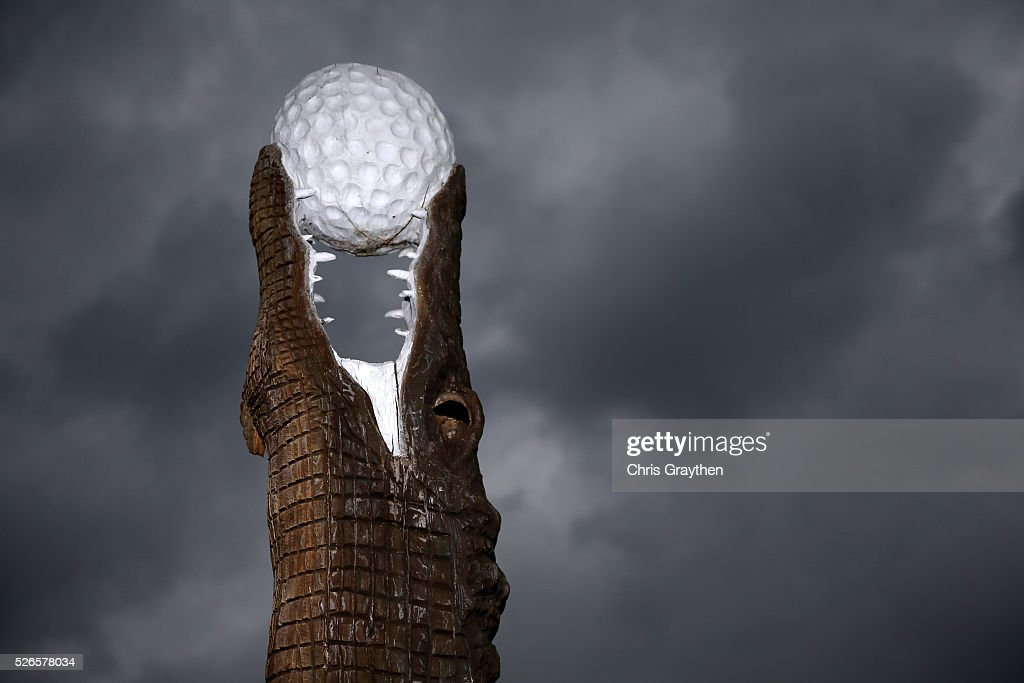 The alligator statue is seen as inclement weather approaches during the third round of the Zurich Classic at TPC Louisiana on April 30, 2016 in Avondale, Louisiana.