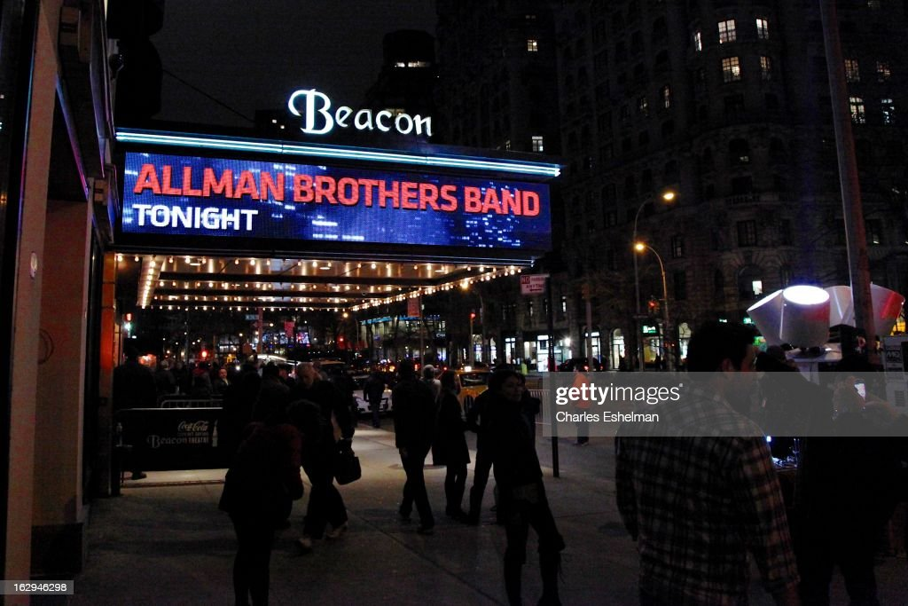 The Allman Brothers Band In Concert on the marquee at Beacon Theatre on March 1, 2013 in New York City.