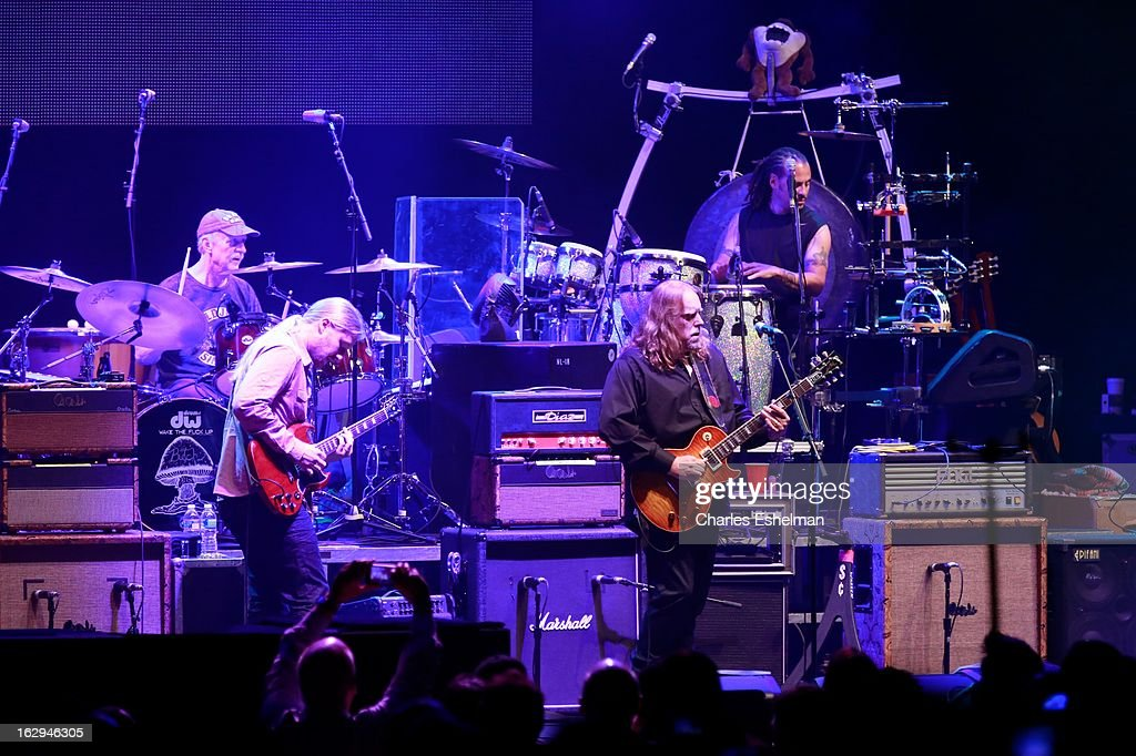 The Allman Brothers' Butch Trucks, <a gi-track='captionPersonalityLinkClicked' href=/galleries/search?phrase=Derek+Trucks&family=editorial&specificpeople=2238705 ng-click='$event.stopPropagation()'>Derek Trucks</a>, Warren Hayne and Marc Qui–ones perform at Beacon Theatre on March 1, 2013 in New York City.