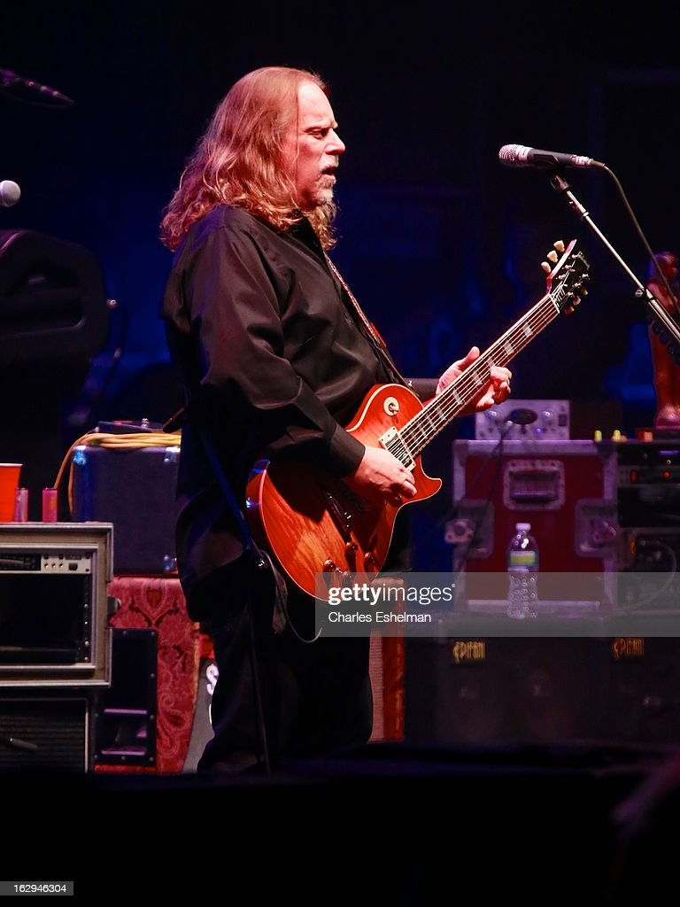 The Allman Brothers guitarist <a gi-track='captionPersonalityLinkClicked' href=/galleries/search?phrase=Warren+Haynes&family=editorial&specificpeople=220730 ng-click='$event.stopPropagation()'>Warren Haynes</a> performs at Beacon Theatre on March 1, 2013 in New York City.