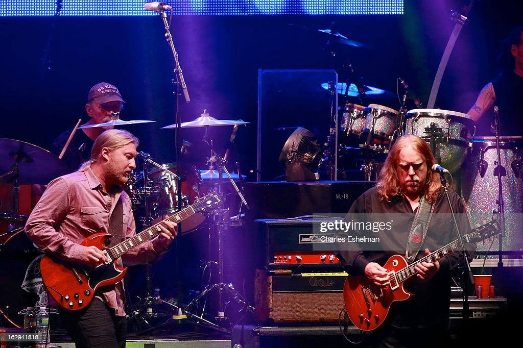 The Allman Brothers guitarist's <a gi-track='captionPersonalityLinkClicked' href=/galleries/search?phrase=Derek+Trucks&family=editorial&specificpeople=2238705 ng-click='$event.stopPropagation()'>Derek Trucks</a> and <a gi-track='captionPersonalityLinkClicked' href=/galleries/search?phrase=Warren+Haynes&family=editorial&specificpeople=220730 ng-click='$event.stopPropagation()'>Warren Haynes</a> perform at Beacon Theatre on March 1, 2013 in New York City.