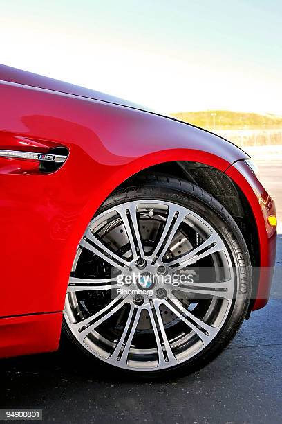 The alloy wheels and 14inch compound brake rotors of the BMW 2008 M3 coupe are photographed at the Laguna Seca Raceway in Monterey California US on...
