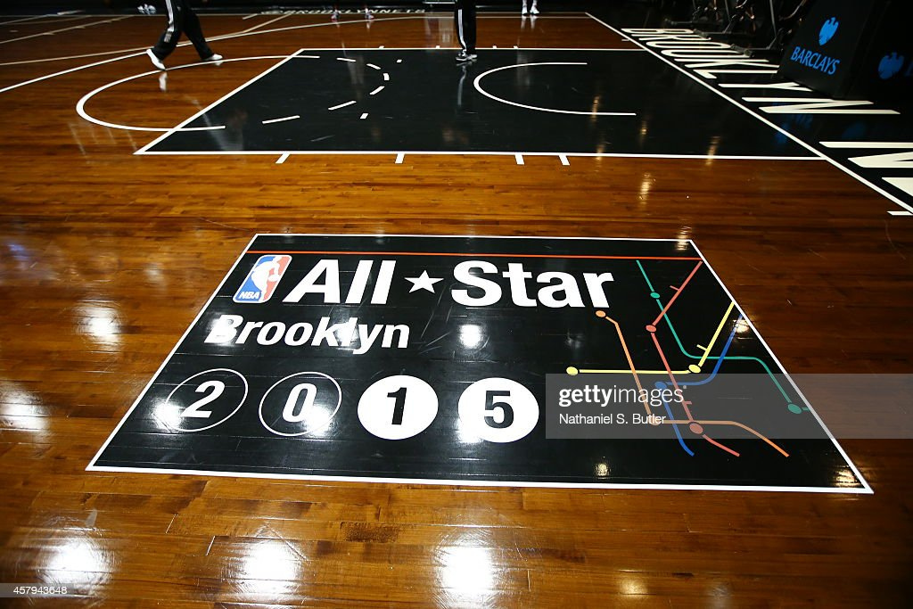 The AllStar logo on the court at the Brooklyn Nets Open Practice on October 26 2014 at Barclays Center in Brooklyn NOTE TO USER User expressly...