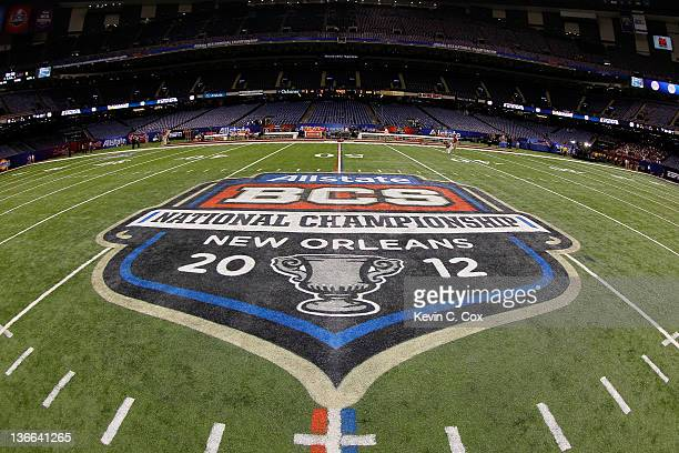 The Allstate BCS National Championship Game logo is seen painted on the field before the 2012 Allstate BCS National Championship Game between the...