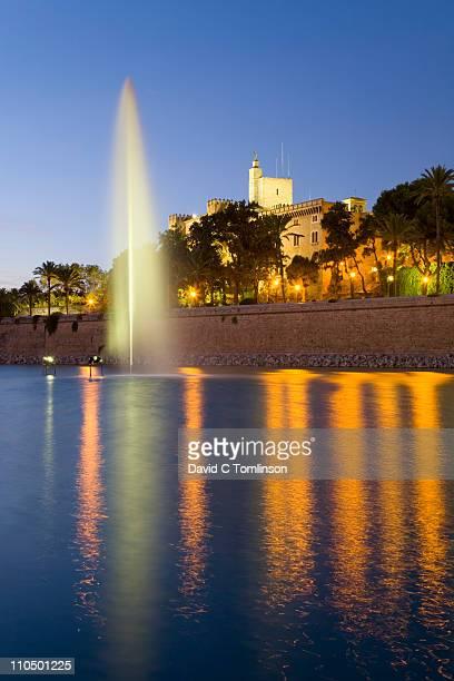 The Almudaina Palace at dusk, Palma, Mallorca