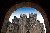 the alnwick castle, most famously known as hogwarts castle in the harry potter series