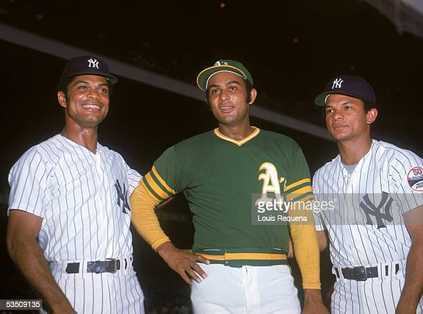 The Alou brothers from left to right Felipe Alou of the New York Yankees Jesus Alou of the Oakland Athletics and Matty Alou of the Yankkes poses for...