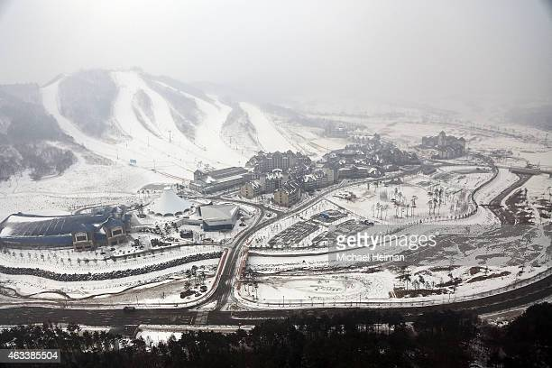 The Alpensia Resort is seen from above on February 10 2015 in the mountain cluster of Pyeongchang South Korea The region located in the northwest...