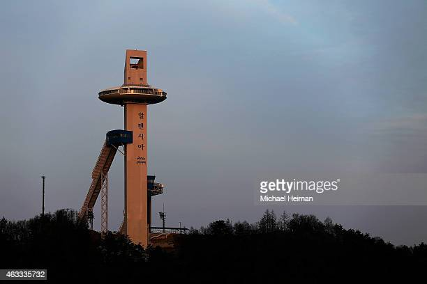 The Alpensia Ski Jumping Centre is seen on February 12 2015 in the mountain cluster of Pyeongchang South Korea The region located in the northwest...
