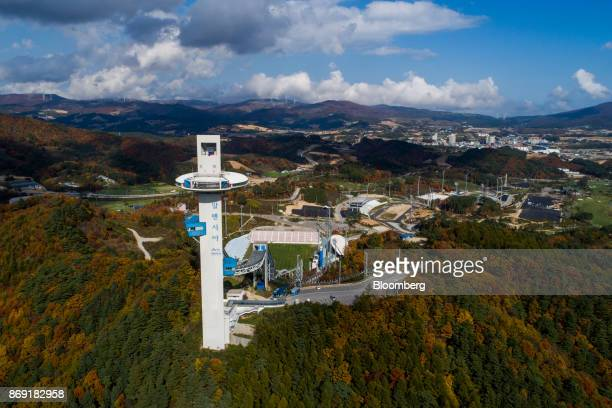 The Alpensia Ski Jumping Stadium the venue for ski jumping events at the 2018 PyeongChang Winter Olympic Games stands in this aerial photograph taken...