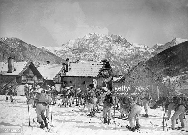 The Alpin Hunters Called Diables Bleus Execute Military Operation In The Area Of Briancon During The Winter In 1932
