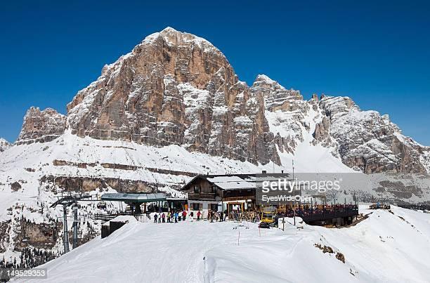 The alpine mountain hut Rifugio Scoiattoli at the famous rocks Cinque Torri in the Dolomite Alps on March 9 2012 in Cortina D'Ampezzo Northern Italy...