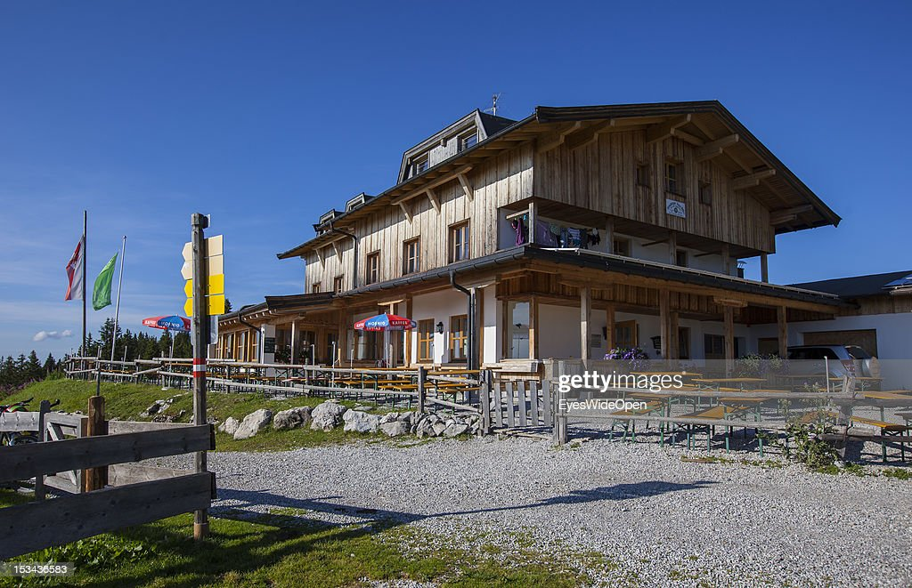 The alpine mountain hut Straubinger Haus at the mountain of Fellhorn in the Bavarian Alps on August 29, 2012 in Reit im Winkl, Bavaria, Germany.