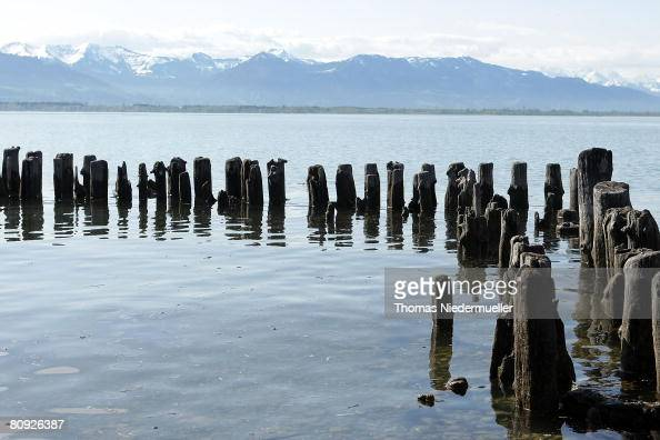 The Alps are seen in the background of the Lake of Constance on April 30 2008 in Lindau Germany The weather on the holiday on Mai 1 2008 will be...