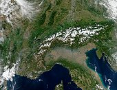 'The Alps march across these true-color MODIS images of Autumnal southern Europe. On either side of and above the Alps are the countries of (from left to right) France, Switzerland, Liechtenstein, Aus