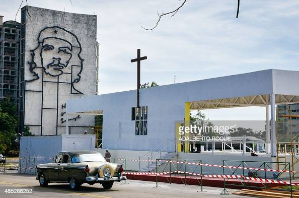 The altar for the upcoming visit of Pope Francis is being mounted at Revolution Square in Havana on August 26 2015 Pope Francis will visit Cuba on...