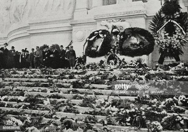 The Altar of the Homeland sprinkled with flowers at the commemoration of the Fallen for the homeland Rome Italy World War II photo by Faustini and...