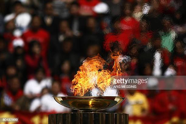 The altar with the Olympic Flame is pictured during the handover ceremony to China at the Panathinaiko stadium in Athens on March 30 2008 The Olympic...