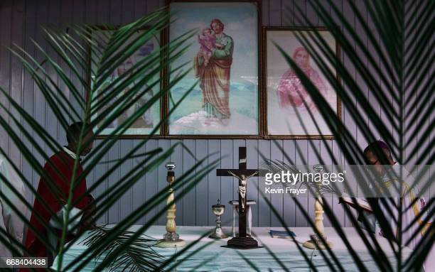 The alter is seen at the Palm Sunday Mass during the Easter Holy Week at an 'underground' or 'unofficial' church on April 9 2017 near Shijiazhuang...