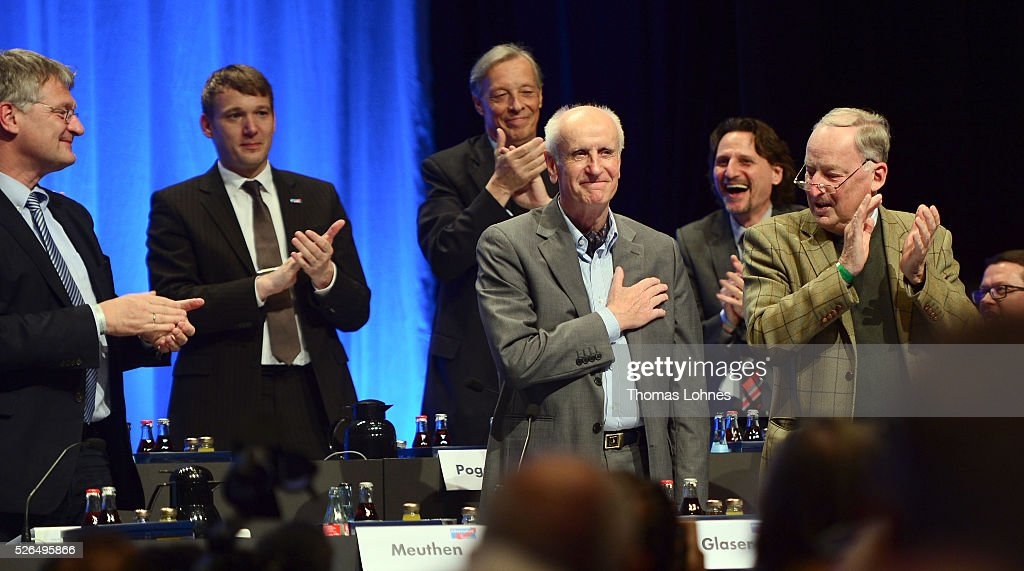 The Alternative fuer Deutschland (AfD) executive committee AfD deputy chairman Alexander Gauland (R) applaud the candidat for the German presidential elections Albrecht Glaser (3-R) at the party's federal congress on April 30, 2016 in Stuttgart, Germany. The AfD, a relative newcomer to the German political landscape, has emerged from Euro-sceptic conservatism towards a more right-wing leaning appeal based in large part on opposition to Germany's generous refugees and migrants policy. Since winning seats in March elections in three German state parliaments the party has sharpened its tone, calling for a ban on minarets and claiming that Islam does not belong in Germany.