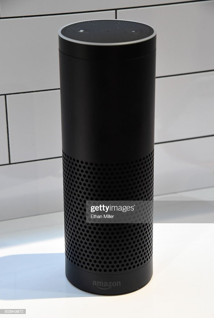 The Amazon Echo is displayed at the Vivint booth at CES 2016 at the Sands Expo and Convention Center on January 7 2016 in Las Vegas Nevada Vivint...