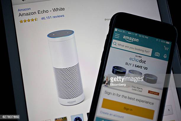 The Amazoncom Inc application displays the Amazon Echo on an Apple Inc iPad in Washington DC US on Monday Dec 5 2016 Amazoncom unveiled a new...
