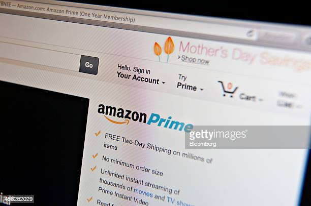 The Amazoncom Inc Prime logo is displayed on a computer screen for a photograph in Tiskilwa Illinois US on Wednesday April 23 2014 Amazoncom Inc is...