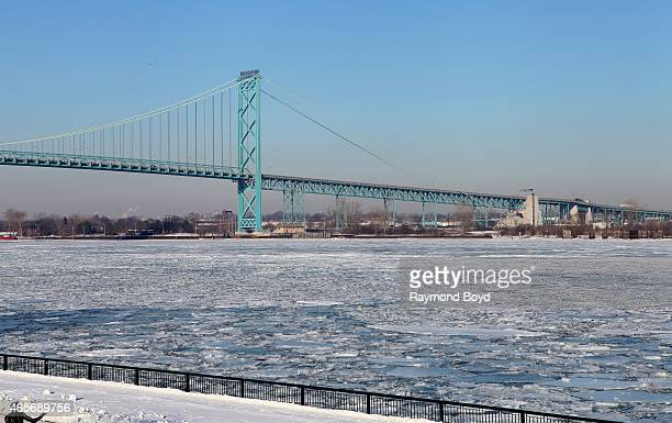 The Ambassador Bridge a major bridge between Detroit Michigan and Windsor Ontario Canada on February 28 2015 in Windsor Ontario Canada