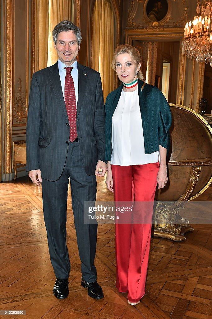 The Ambassador of Italy to France Giandomenico Magliano and his wife Giada Magliano pose during at Embassy of Italy to France during Casa Azzurri on Tour on June 27, 2016 in Paris, France.