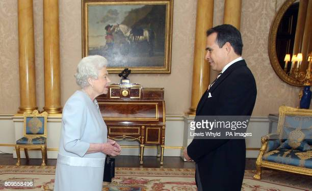 The Ambassador of The Dominican Republic Mr Federico Cuello Camilo presents his credentials during a private audience with Queen Elizabeth II during...