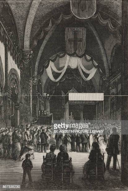 The Ambrosian feasts in Milan Ark display in the cathedral Italy drawing by Pessina illustration from Nuova illustrazione Universale Year 1 Vol II No...