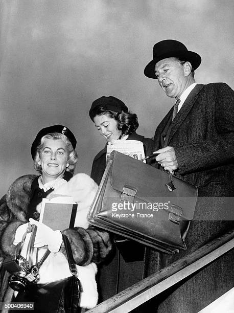 The American actor Gary Cooper his wife Sandra Shaw and their daughter Maria leaving the plane at their arrival in Rome for a short stop on October...