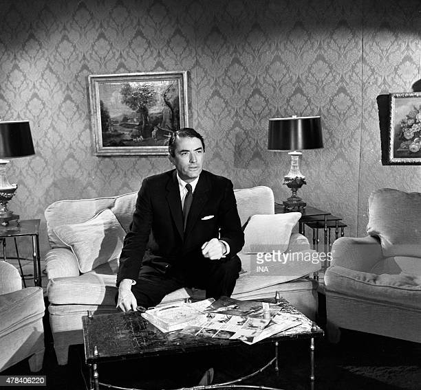 The American actor Gregory Peck during an interview on the occasion of the presentation of the movie ''Of the Silence and the shadows'' in the Cannes...