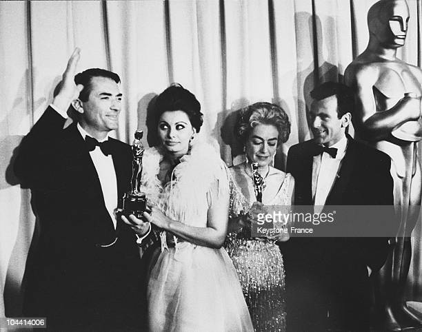 The American actor Gregory PECK the Italian actress Sophia LOREN the American actress Joan CRAWFORD and the Austrian director and actor Maximilian...