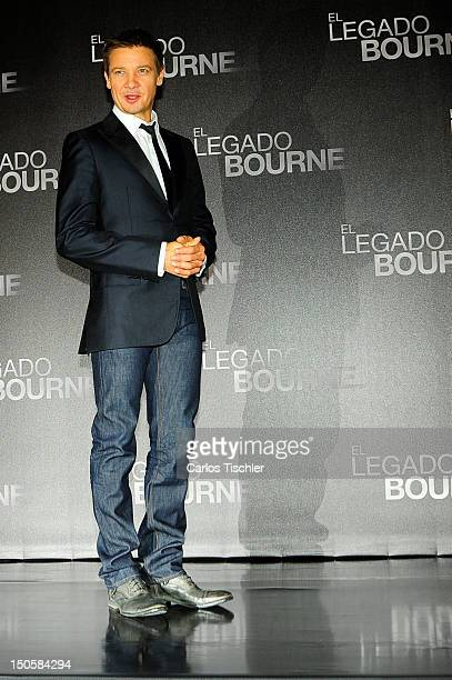 The American Actor Jeremy Renner poses for a picture during the photocall of the film The Bourne Legacy before its premiere at St Regis Hotel on...