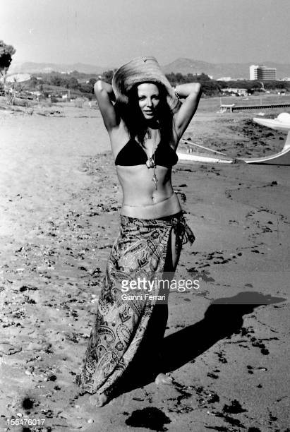 The American actress Joan Collins in her holyday in Marbella Malaga Andalusie Spain