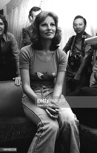 The American actress Raquel Welch during a press conference Madrid Spain