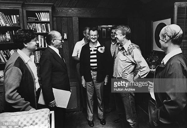 The American and Israeli teams meeting at Camp David Maryland USA during the summit which resulted in the Camp David Accords 17th September 1978 At...