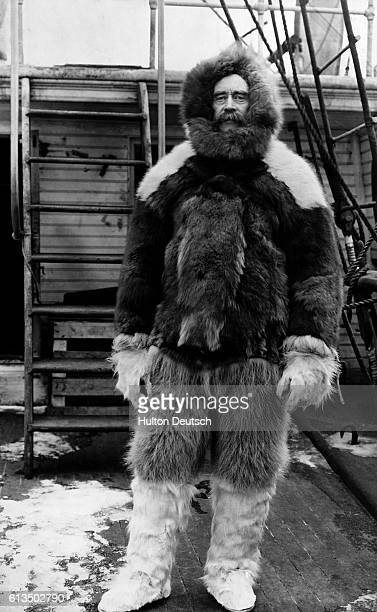 The American Arctic explorer Robert Peary dressed for an expedition in furs He reached the North Pole in 1909 and also discovered Peary Land which...