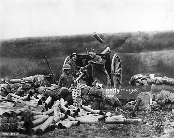 The American army using an artillery cannon France World War I National archives Washington