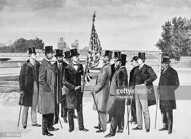 The American commissioner general taking possession of the site reserved for the United States pavilion prior to the Great Exposition in Paris 1900