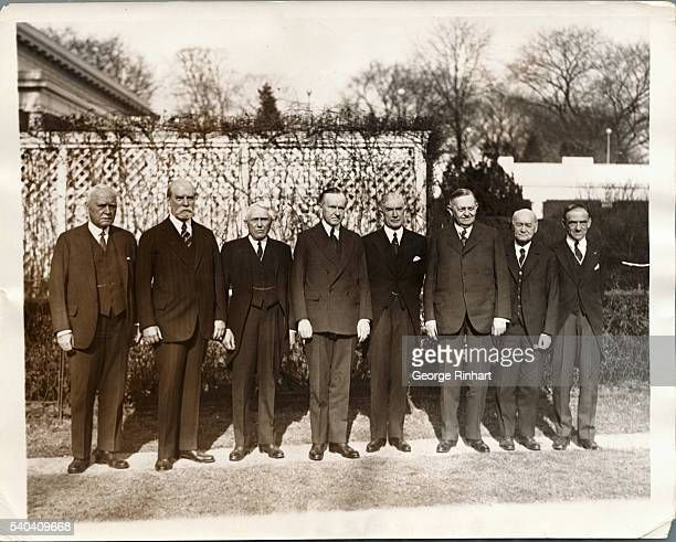 The American delegation to the Pan American Conference to be held in Havana is shown on the White House grounds with president Coolidge Left to right...