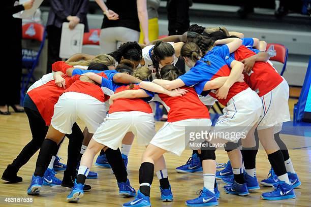 The American Eagles huddle before a women's college basketball game against the American Eagles at Bender Arena on January 31 2015 in Washington DC...