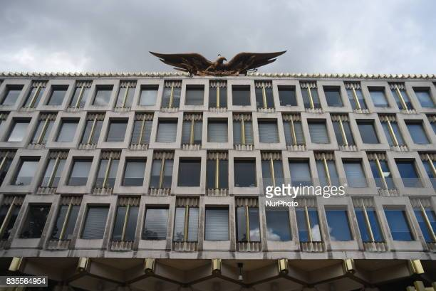 The American Embassy is pictured in Central London as a protest took place against the racism escalation following the riot in Charlottesville London...