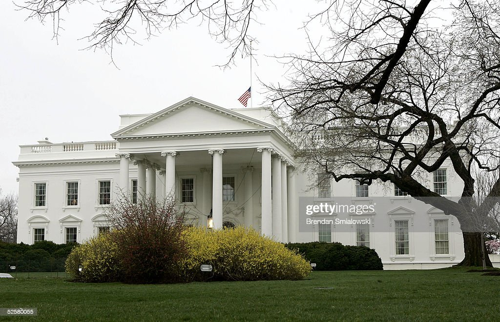 The American Flag flies at half mast above the White House in honor of Pope John Paul II April 2, 2005 in Washington, DC. The 84 year old Pontiff died today after several weeks of deteriorating health after 26 years of leading the Catholic Church.