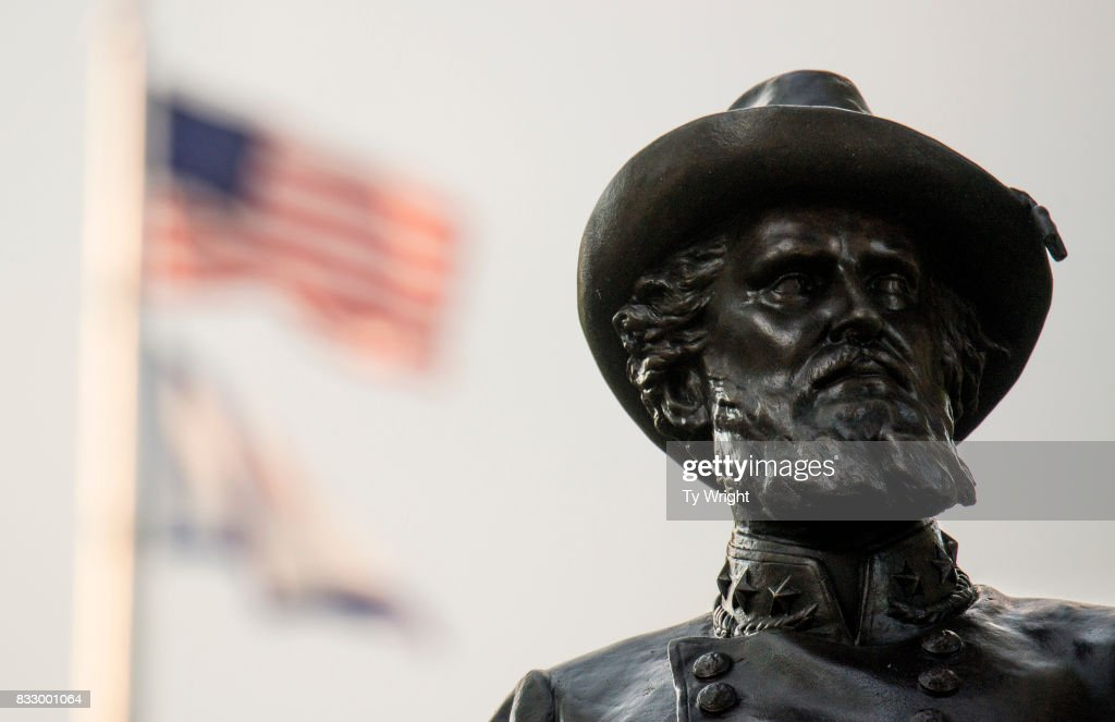 The American Flag flies behind the statue of Confederate General Thomas Stonewall Jackson stands at the West Virginia State Capitol Complex on August 16, 2017 in Charleston, West Virginia. At a protest on August 13, 2017, around 200 people gathered on the State Capitol complex asking the statue be removed in light of the recent tragedy in Charlottesville, Virginia.