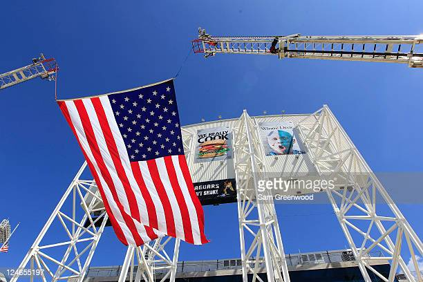 The American flag is displayed outside the stadium prior to the game between the Jacksonville Jaguars and the Tennessee Titans at EverBank Field on...