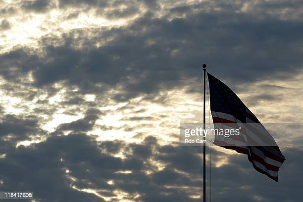 The American flag is shown during the Rochester Rattlers and Chesapeake Bayhawks game at NavyMarine Corps Memorial Stadium on July 2 2011 in...