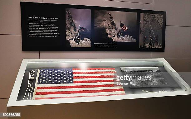 The American flag that was raised by firefighters above the site of the 9/11 attacks on the World Trade Center in New York on 2001 is displayed for...